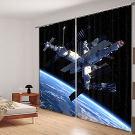 Amazing Space Satellite Station Printed 3D Curtain