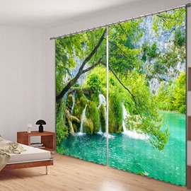 Green Moss Water in the Beautiful Nature Printed 3D Curtain
