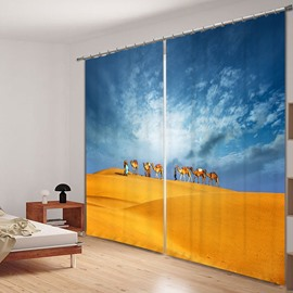 Travel in the Desert Printed 3D Polyester Curtain