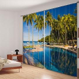 Peaceful Seaside Resort Printed 3D Curtain