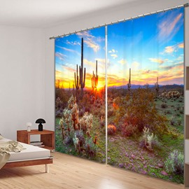 Green Cactus and Beautiful Sunset Scenery Desert Printing Custom 3D Curtain for Living Room