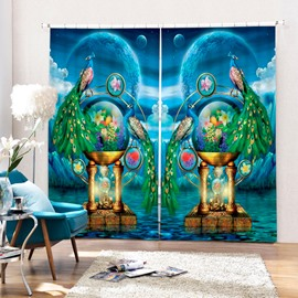 3D Couple Peacocks with Flowers Printed Retro Style Blackout and Decorative Curtain