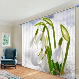 Vivid Leucojum Vernum Polyester Printing 3D Curtain