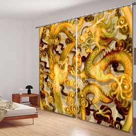 3D Dragon and Phoenix Printed Chinese Style 2 Pieces Bedroom Shading Curtain
