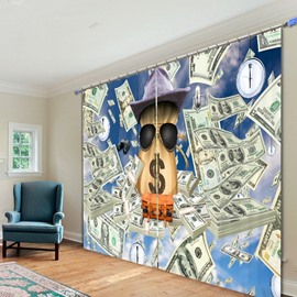 Neoclassical Polyester Printing 3D Curtain