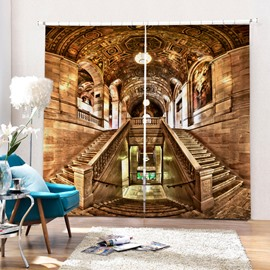 Baroque Castle Polyester Printing 3D Curtain