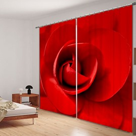 Romantic Red Rose Polyester Printing 3D Curtain