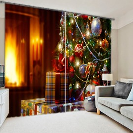 Christmas Style Polyester Printing 3D Curtain