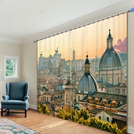 Beautiful Florence at Dusk 3D Printed Polyester Curtain