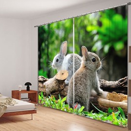 3D Cute Rabbits Standing on the Wood Printed Animal Scenery 2 Panels Polyester Curtain