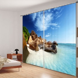 The Rock in the Beach 3D Printed Polyester Curtain