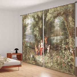 Classic Oil Painting 3D Printed Polyester Curtain