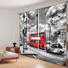 British Style Red Bus 3D Printed Polyester Curtain