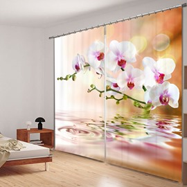 The Pink Flowers on the Water 3D Printed Polyester Curtain