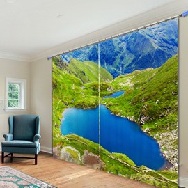 Green Mountain and Blue Lake 3D Printed Polyester Curtain