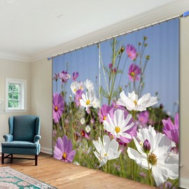 White and Purple Coreopsis Sea 3D Printed Polyester Curtain