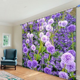 Romantic Purple Lavender 3D Printing Polyester Curtain