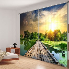 The Wooden Bridge on the Lake 3D Printed Polyester Curtain