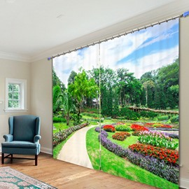 Vibrant Park with Colored Flowers 3D Printed Custom Polyester Curtain
