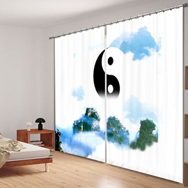 Chinese Yin and Yang 3D Printed Polyester Curtain