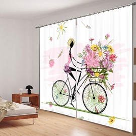 Flower Girl Riding Bike 3D Printing Polyester Curtain