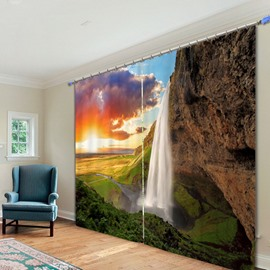 Graceful Waterfall at Dusk 3D Printing Polyester Curtain