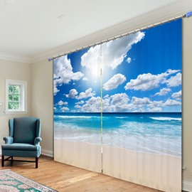 The Wonderful Sunny Day in Beach 3D Printing Polyester Curtain