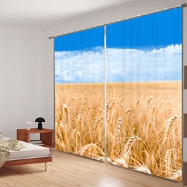 A Good Harvest of Wheat 3D Printing Polyester Curtain