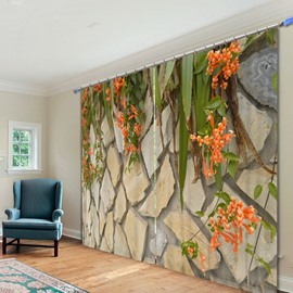 Stone Wall with Orange Flowers 3D Printed Polyester Curtain