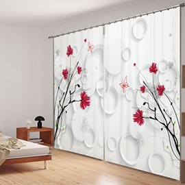 Elegant Little Red Flowers 3D Printing Polyester Curtain