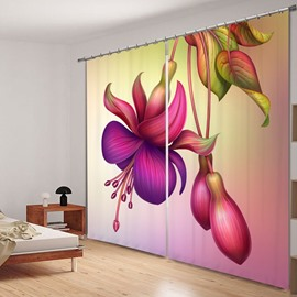 Decorative Colored Flowers 3D Printed Polyester Curtain