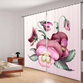 Elegant Pansy Flower 3D Printed Polyester Curtain