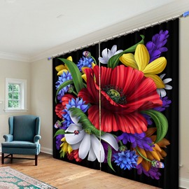 Fantastic Colored Flowers 3D Printing Polyester Curtain