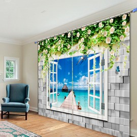 Beautiful Beach Scenery out of the Window 3D Printing Polyester Curtain