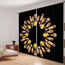 Creative Wine Circle 3D Printing Polyester Curtain
