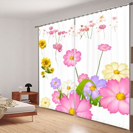 Cute Hand Painting Flowers 3D Printed Polyester Curtain