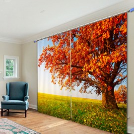 Amazing Tree with Orange Leaves in Autumn 3D Printing Polyester Curtain
