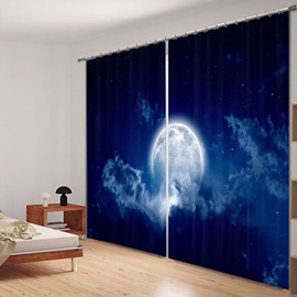 Bright Moon in the Dark Blue Sky 3D Printed Curtain