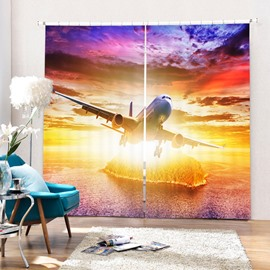 The Plane Rushing to the Sky 3D Printed Polyester Curtain