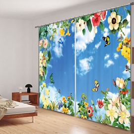 Colored Butterfly and Flower with Blue Sky 3D Printed Polyester Curtain
