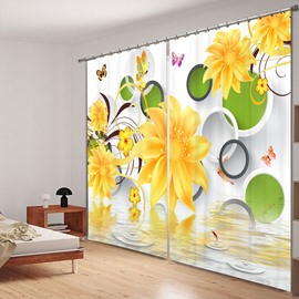 Yellow Flowers and Colored Butterflies 3D Printed Polyester Curtain