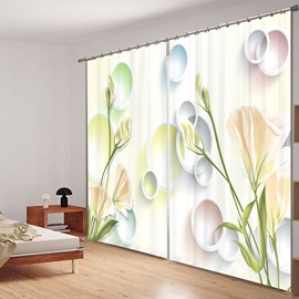 Designer Light Yellow Carnations 3D Printed Polyester Curtain