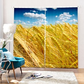 Golden Wheat Field and Blue Sky 3D Printing Polyester Curtain