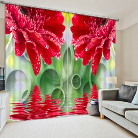 Red Chrysanthemum on the Water 3D Printed Polyester Curtain
