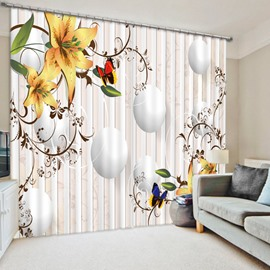 Yellow Lily and Colored Butterfly 3D Printed Polyester Curtain