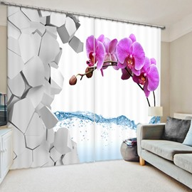 Rose Red Moth orchids 3D Printed Polyester Curtain
