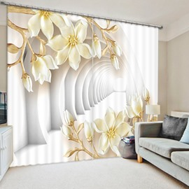 Light Yellow Flowers and Corridor 3D Printed Polyester Curtain