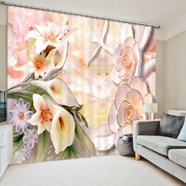 Designer Jade Carving Flowers 3D Printed Polyester Curtain