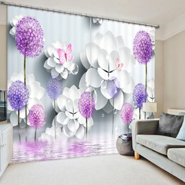 Dreamy Purple Flower and Butterfly 3D Printed Polyester Curtain