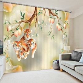 3D Adorable Tiger Babies and Peach Trees Printed Animal Style Decoration Polyester Curtain